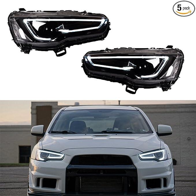 Amazon.com: Vland LED Blackout Headlights For 2008-2017 Mitsubishi Lancer/Evo X head lamp Audi Style: Automotive