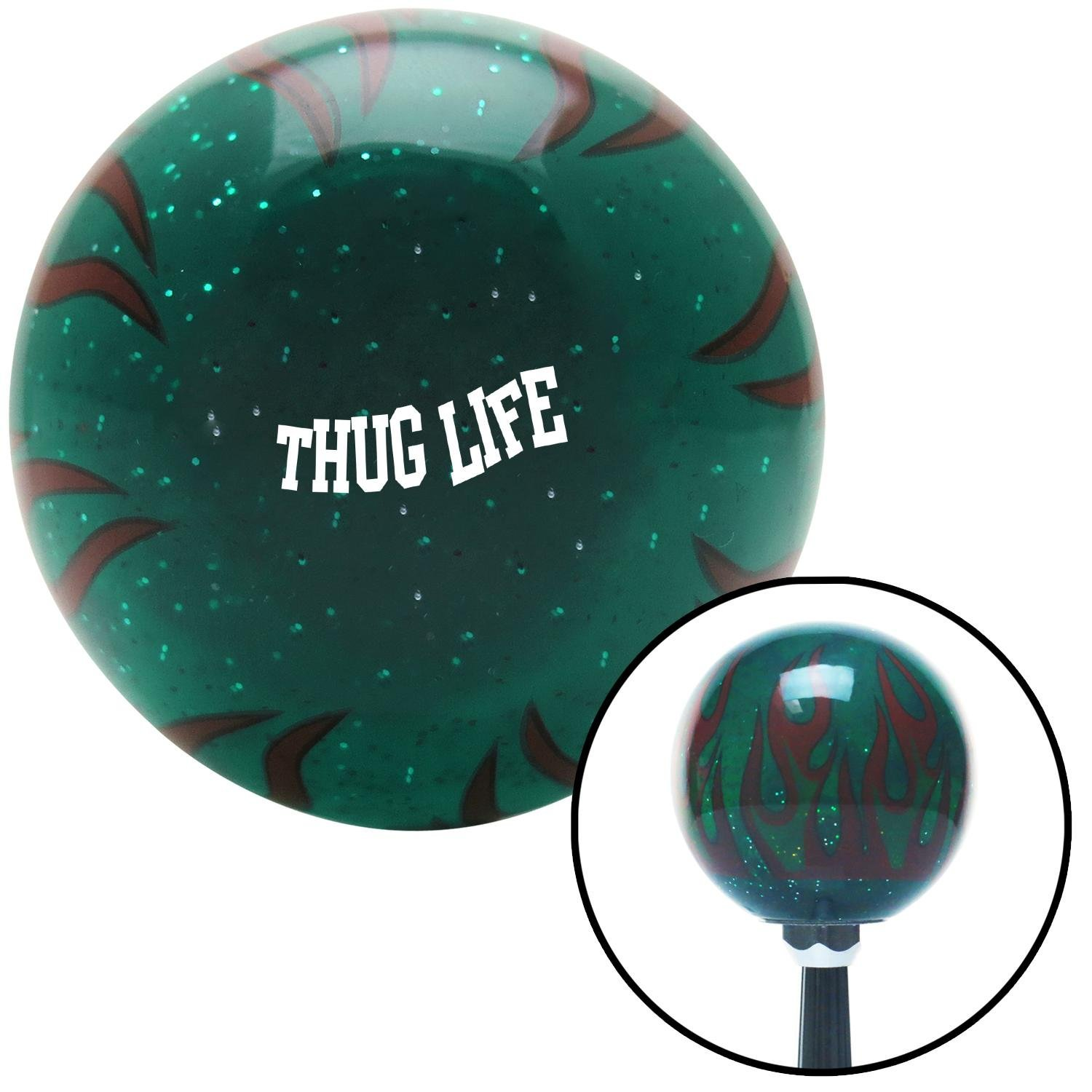 White Thug Life Green Flame Metal Flake with M16 x 1.5 Insert American Shifter 301068 Shift Knob