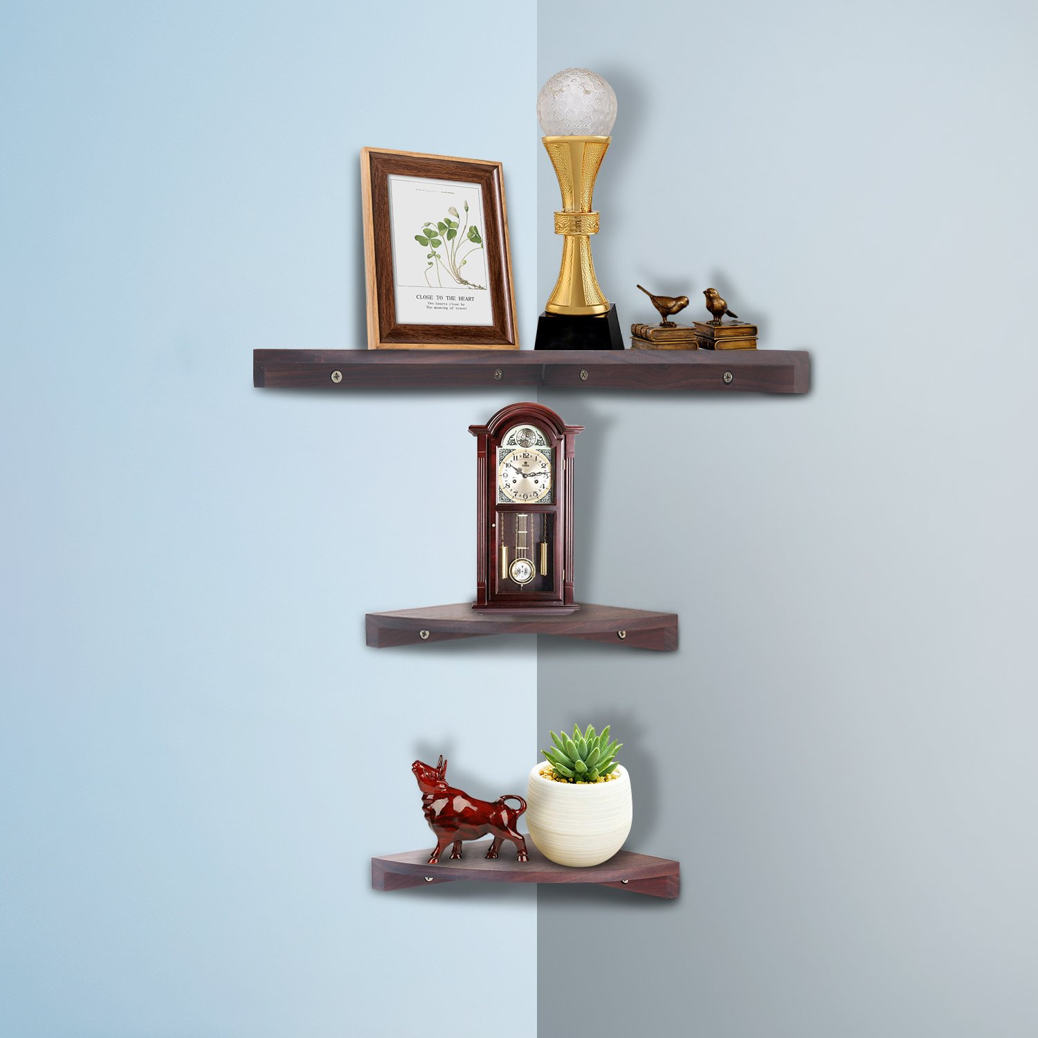 Yankario Walnut Corner Shelves Wall Mounted Set of 3, Floating Wall Shelves for Storage and Display in Living Room, Bedroom, Office and More