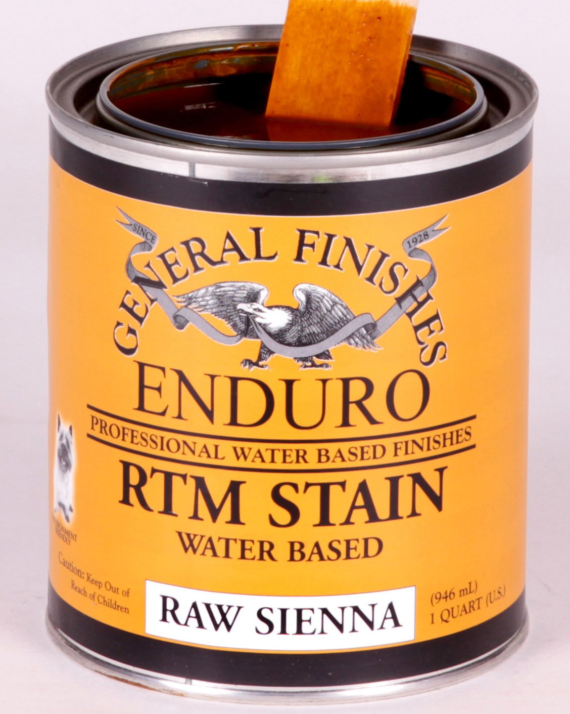 General Finishes Enduro RTM Water Based Wood Stain 1 Quart Raw Sienna