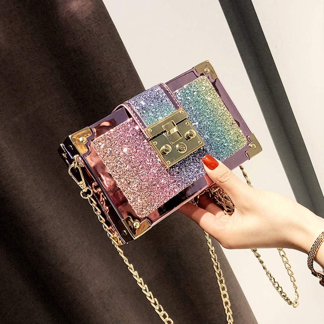 XHCM Womens Korean Style Square Bag Fashion Sequins /& Metal Chain Small Bags Tide Shoulder Crossbody Bag,Black