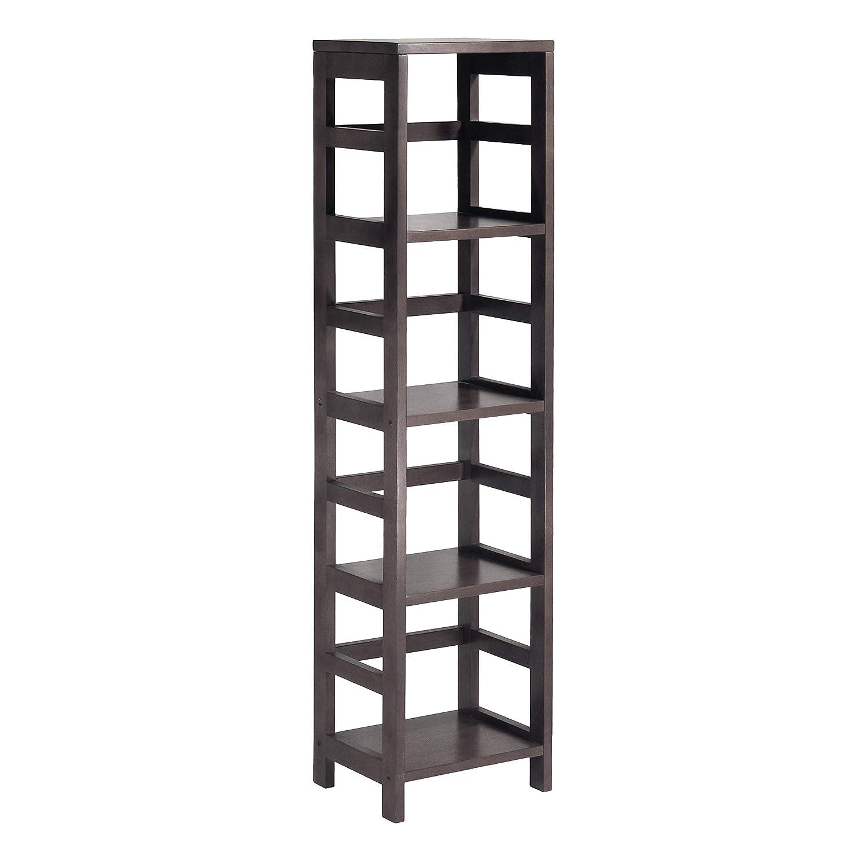 No baskets Winsome Wood 4-Shelf Narrow Shelving Unit, Espresso