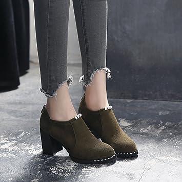 BOTAS HAIZHEN Ladies Girls Botines Zapatos de mujer Tacones Fall Winter Confort Chunky talón del dedo