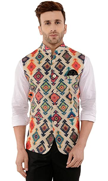 Cenizas Casual Multicolor Nehru Jacket Neck Waistcoat for Men Slim fit Party wear Men's Suits & Blazers at amazon