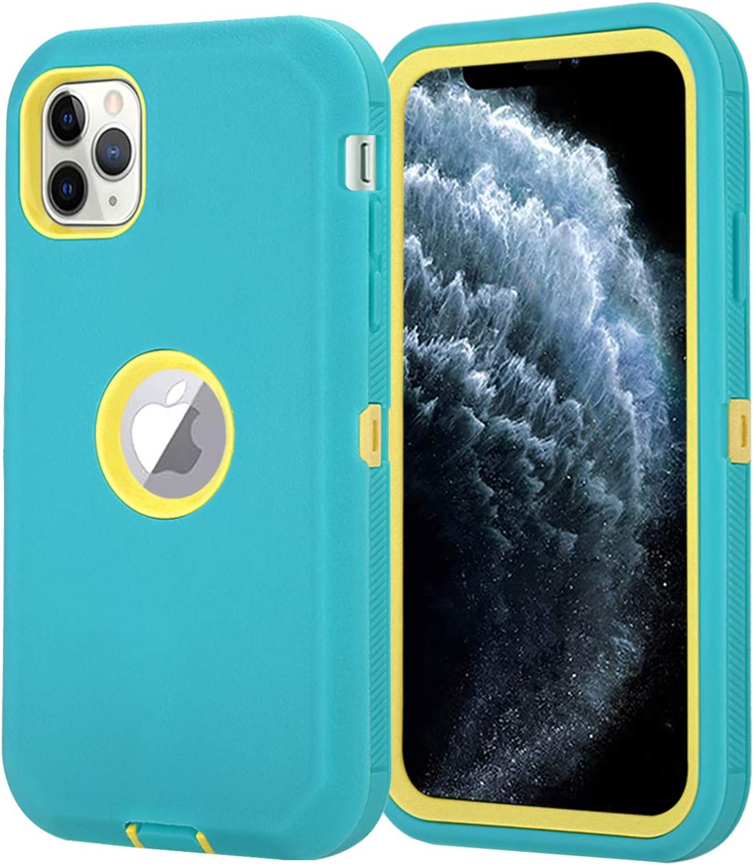 Aimoll-88 for iPhone 11 Pro Max Case, Full Body [with Built-in Screen Protector] Rugged Heavy Duty Shockproof/Drop Proof 3-Layer Protective Cover for iPhone 11 Pro Max 6.5-inch (Green/Yellow)
