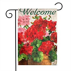 Eartha Tracy Welcome Red Geraniums Home Garden Flag Vertical Spring Summer Decorative Rustic/Farm House Small Decor Yard Flags Set for Indoor & Outdoor Decoration 12x18 Inch