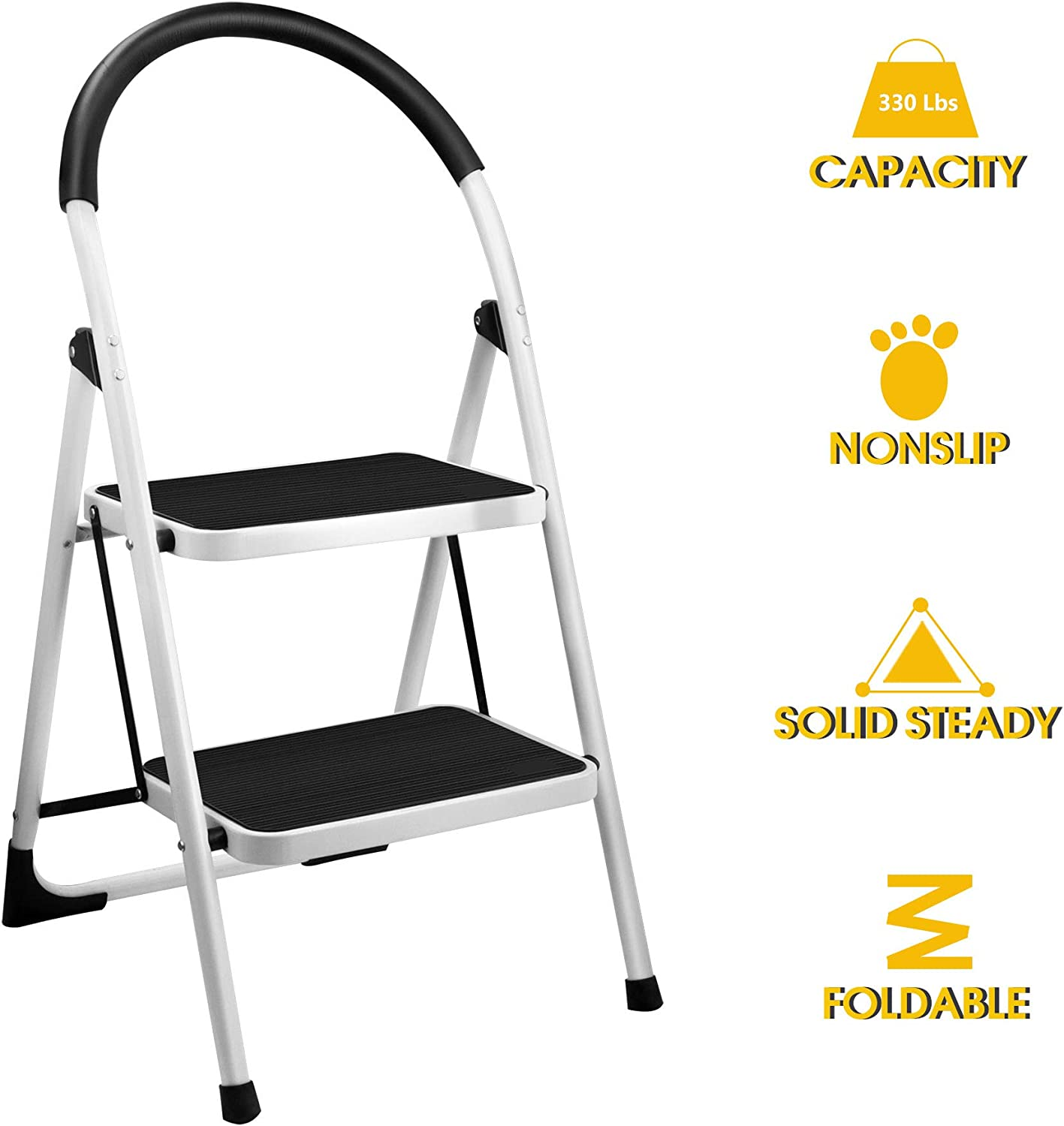 2 Step Stool, Gimify Folding Step Ladder Steel Stepladders (Upgraded Version) Non-Slip Sturdy Steps Wide Pedal with Comfortable Hand Grip for Home Kitchen Garden Office 330 lbs