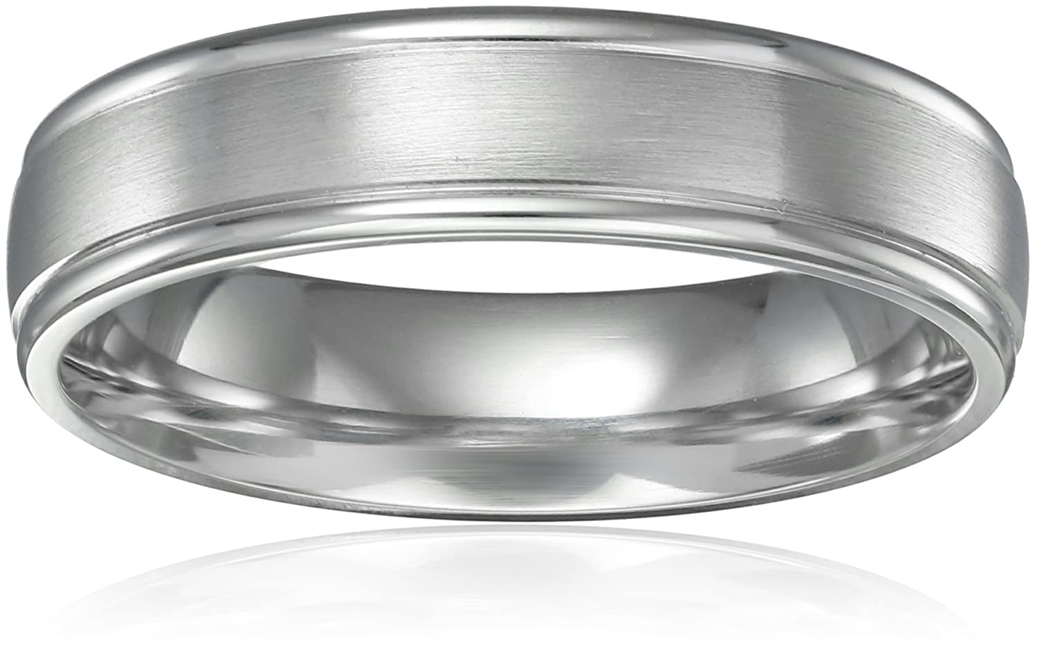 B mens platinum wedding rings Men s Platinum Comfort Fit Wedding Band with High Polish Round Edges with Satin Center 6 mm Amazon com