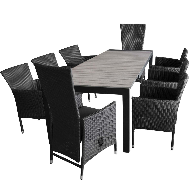 Gartengarnitur Ausziehtisch 205/275x100cm + 6x Sessel Mit  Polyrattanbespannung + 2x Polyrattan Hochlehner Inklusive Sitzkissen Rückenlehne  Verstellbar ...
