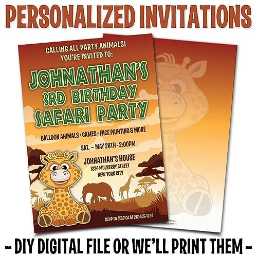 Custom Personalized Safari Birthday Invitations
