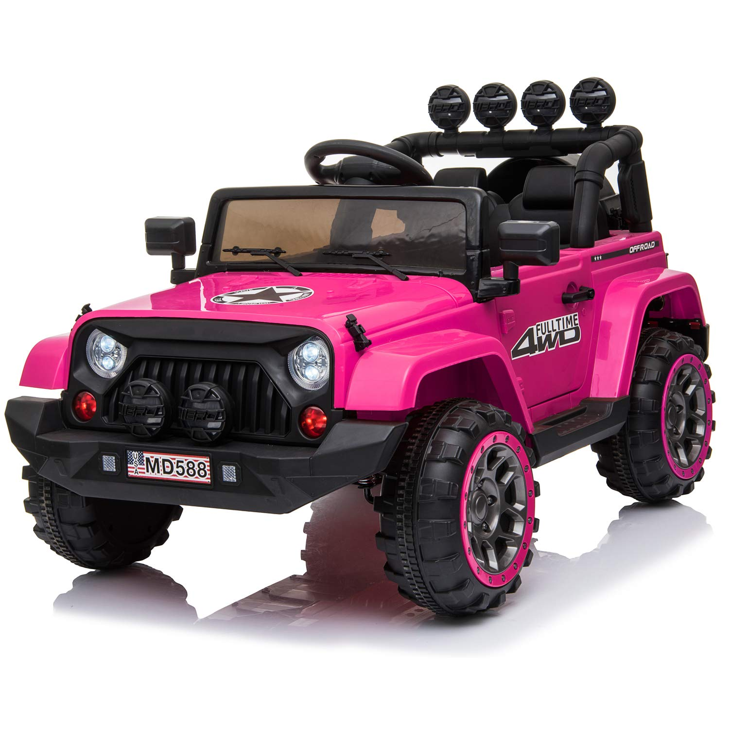 12V Kids Electric Ride On Car with 2.4G Remote Control, 2 Motors, Openable Doors, LED Light, USB Port, Spring Suspension and Facelift Grille - Pink
