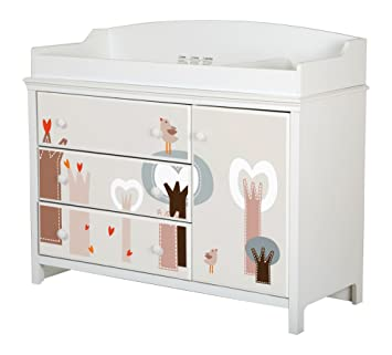 South Shore Cotton Candy Changing Table With Removable Top And Magic Forest  Decals, Pure White