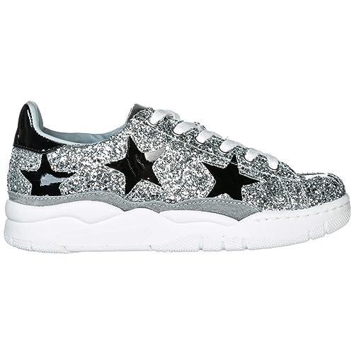 7e843a15bb69a Chiara Ferragni Scarpe Sneakers Donna in Pelle Nuove Argento EU 38 CF2084   Amazon.it  Scarpe e borse