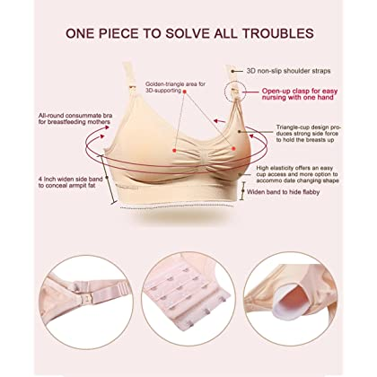 997bce63e8822 ... HOFISH Women s Wire Free Full Cups Nursing Maternity Bras Pregnant  Breastfeeding Bra 3-Hooks Eye ...