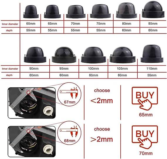 Tomall 65mm 2 5 Gummidichtung Staubdicht Abdeckungen Für Led Scheinwerfer Umbausatz Auto