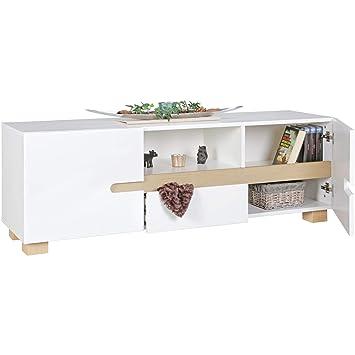 Wohnling Lowboard SKANDI 150 x 52 x 42 cm weiß skandinavisch Holz ...