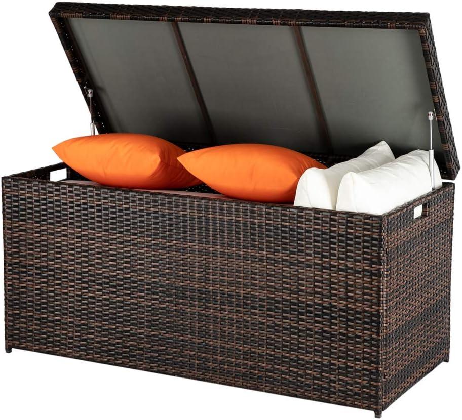 HOMEN 132 Gallon Outdoor Rattan Deck Box, Organization and Storage Box for Patio Furniture, Cushion, Garden Tools (Brown)