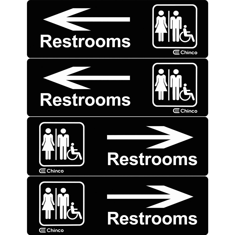 4 Pièces Signe de Toilettes en Plastique Acrylique Signe Directionnel de Toilettes Hommes Femmes Signe de Toilettes en Fauteuil Roulant avec Flèche, 9 par 3 Pouces