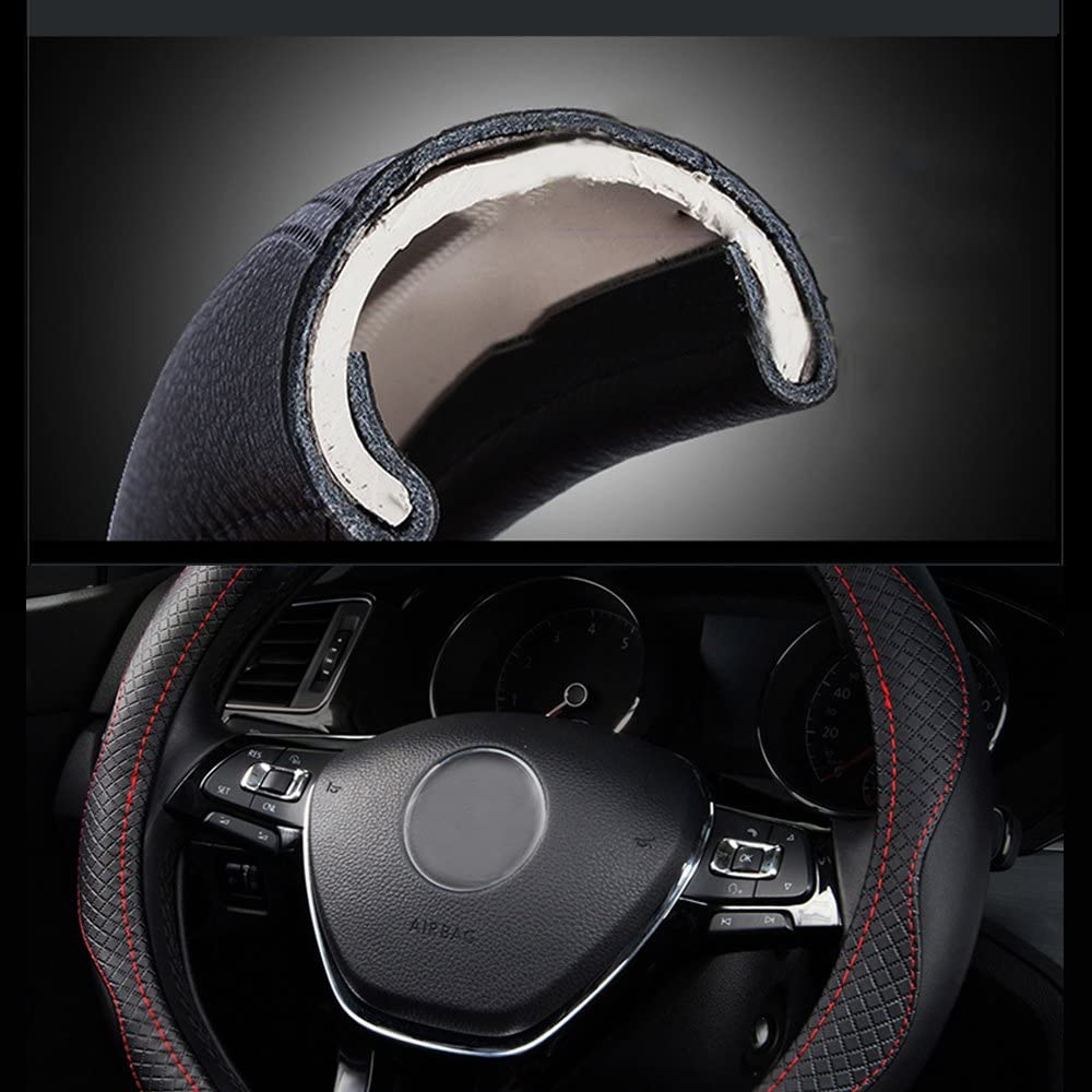 HAN sur les Song Couvre-volant pour voiture 38/cm pour C3/aircross Grand C4/spacetourer nouveau e-berlingo berlingo 38cm Noir en cuir v/éritable