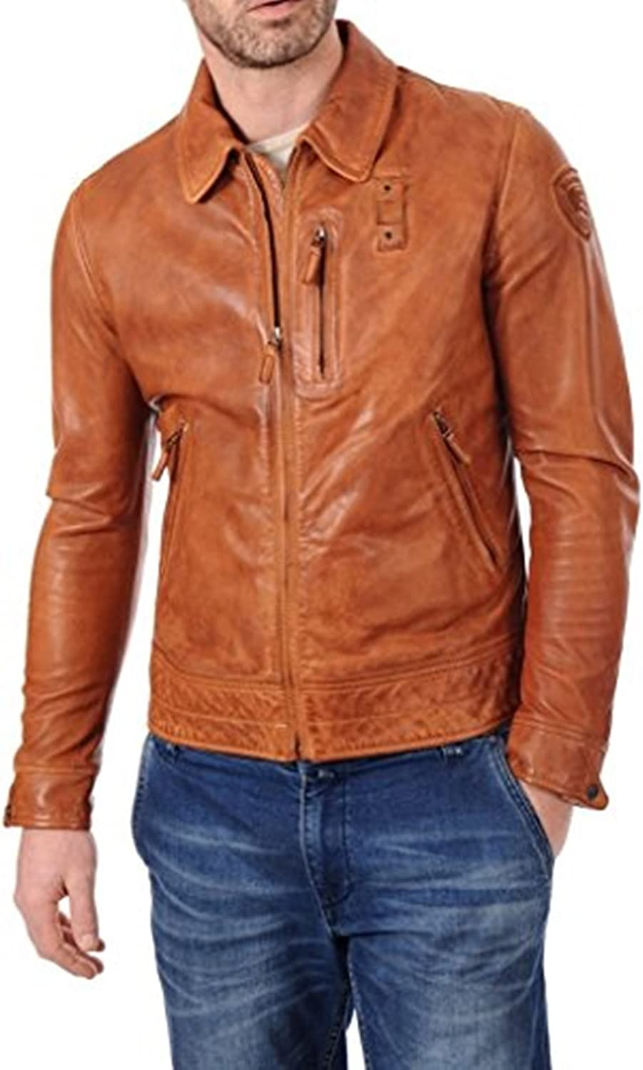 Racers Winter Wear OutFit11 Mens Genuine Lambskin Leather Biker Jacket Extremely Soft /& Smooth