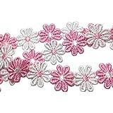 Varvena お花 の レース 6.5m レース リボン ハンドメイド 服 雑貨 に (ピンクと白)