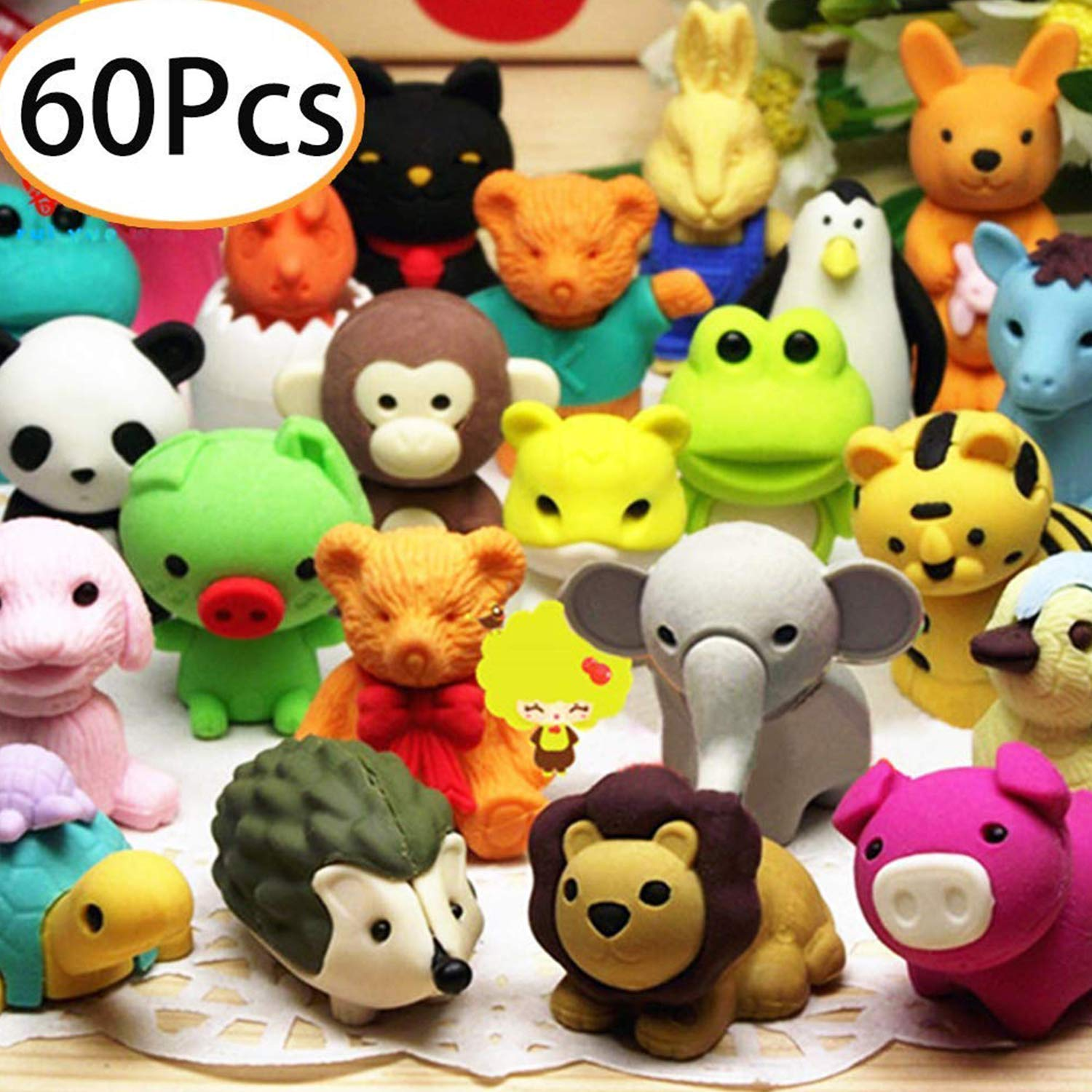 Axe Sickle 60 pcs Mini Animals Erasers, Non-Toxic Novelty Erasers Toys Best for Kids Fun Games and Collection. by Axe Sickle