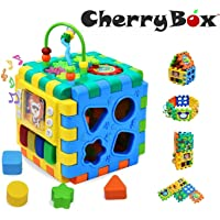 CherryBox Activity Cube 6-in-1 Musical Learning Activity Toy with Shapes, Puzzle, Music Key, Piano, Clock for Kids, Baby Play Centre Gift for 1-3 Year Old