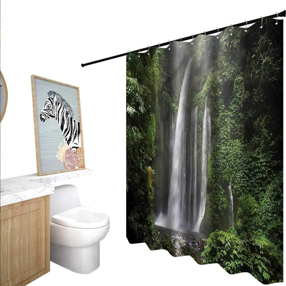 BlountDecor ウォーターフォールシャワーカーテン シャワーフック付き リアルな湖と森 55x72インチ バスルームに最適 55
