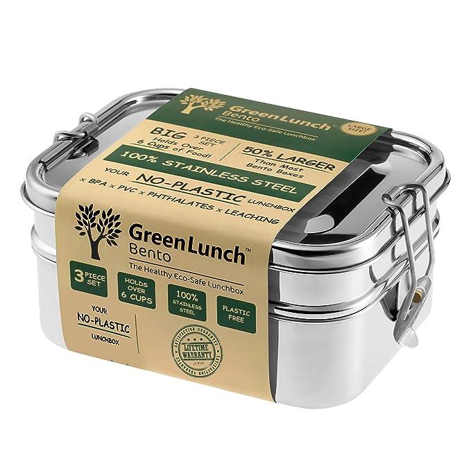 Amazon.com: Caja de almuerzo 3 en 1 de acero inoxidable ...