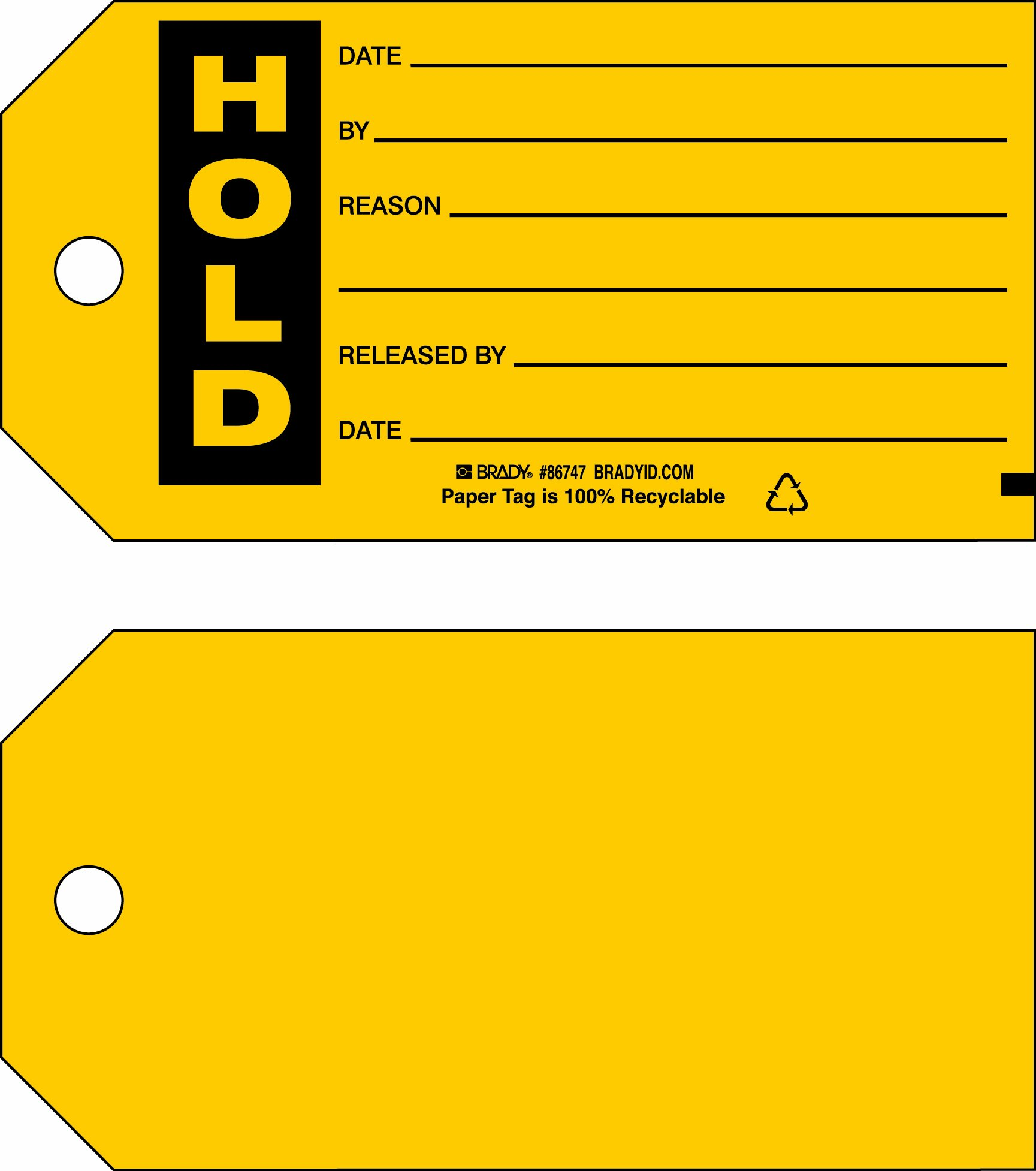 Brady  86747 3'' Height x 5 3/4'' Width, Cardstock (B-853), Black on Yellow Production Status Tags (100 Tags) by Brady