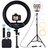 18 inch LED Ring Light with Tripod Stand Dimmable Makeup Selfie Ring Light for Studio Portrait YouTube Vlog Video Shooting wi