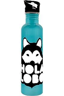 Hola lobo: botella de acero inoxidable 1 Lt.