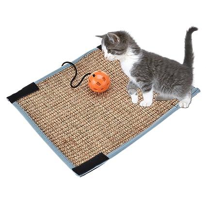 Sue Supply - Alfombrilla rascadora para gatos de sisal natural, antideslizante, almohadilla de peluche