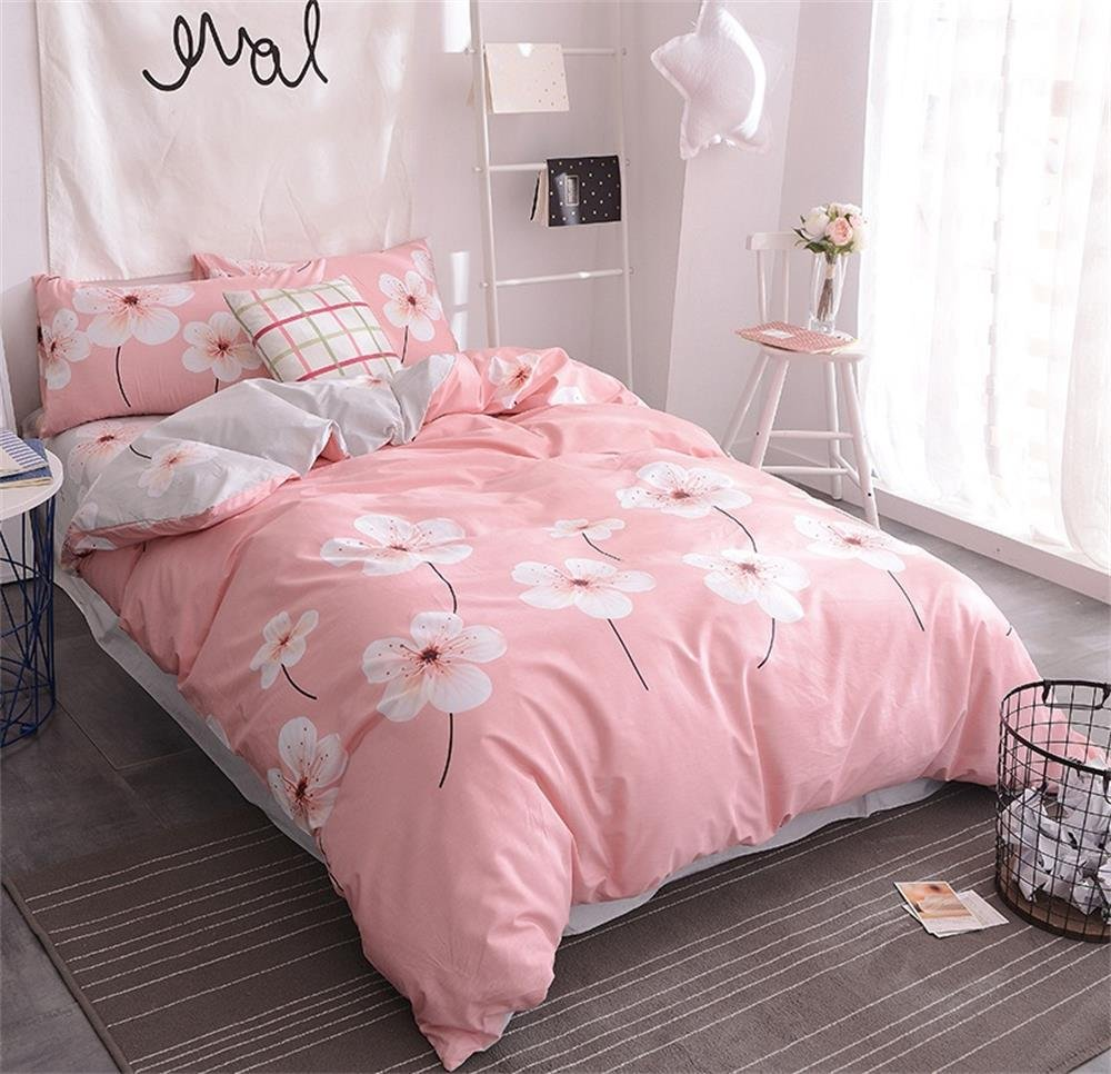 EnjoyBridal Teens Kids Duvet Cover for Twin Size Bed Pink Flowers Bedding Cover Sets 3 PC Quilt Comforter Cover and 2 PC Pillow Shams Collection (Twin, Peach Blossom)