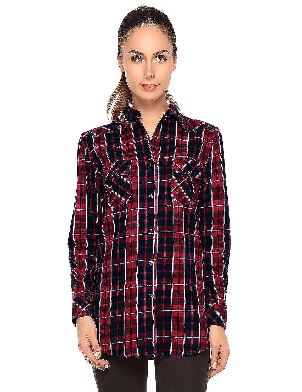 Checks 1 Match Women's Long Sleeve Flannel Plaid Shirt