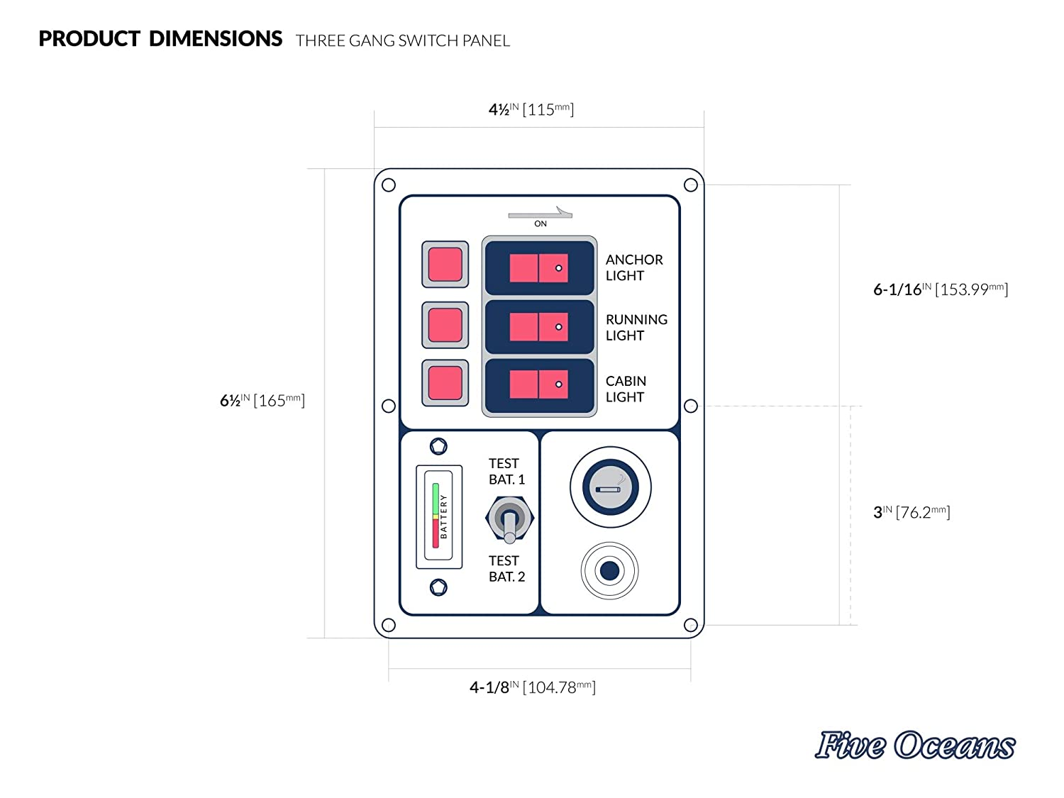 Five Oceans 3 Gang Switch 12v Dc Socket Voltmeter 4 Panel Wiring Diagram Fo 1396 1 Sports Outdoors
