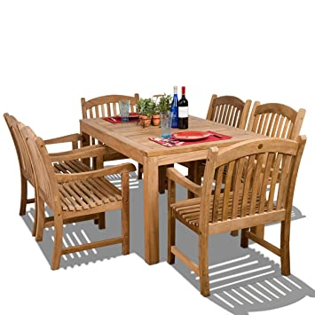 Amazonia Teak Oslo 7 Piece Teak Dining Rectangular Set