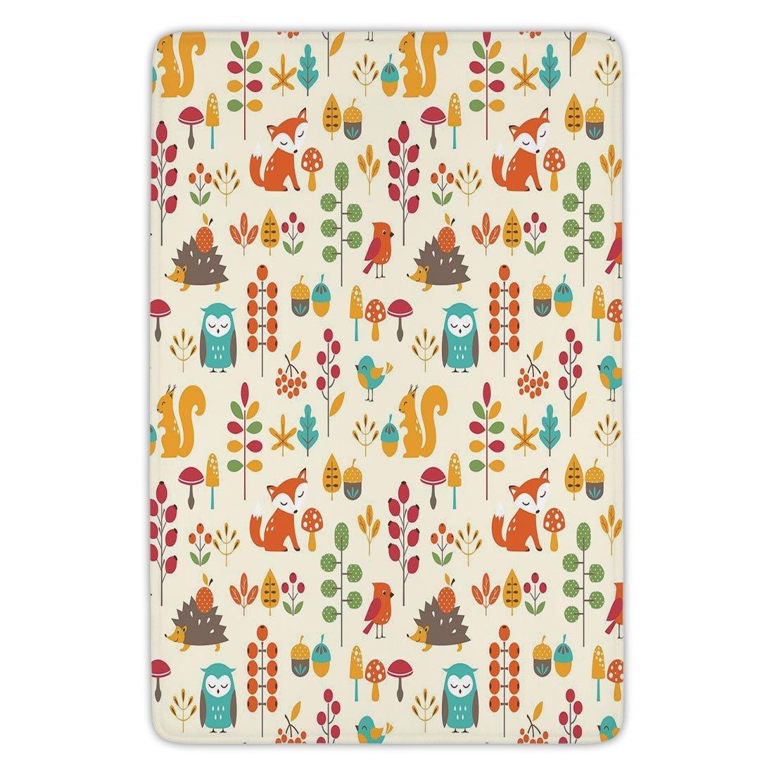 Bathroom Bath Rug Kitchen Floor Mat Carpet,Children,Cute Kids Autumn Pattern with Owl Fox Squirrel Birds Animal Leaves Artsy Print,Multicolor,Flannel Microfiber Non-slip Soft Absorbent