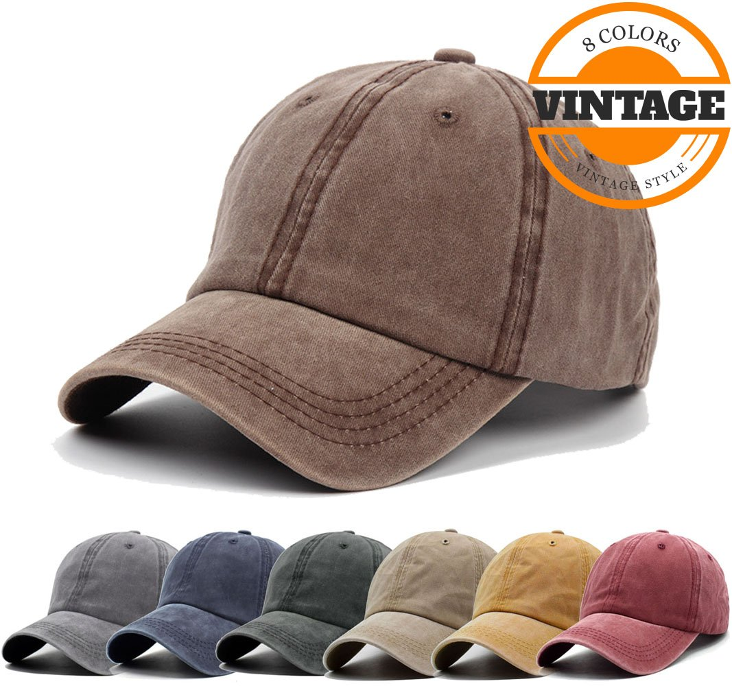 Unisex Vintage Washed Distressed Baseball Cap Twill Adjustable Dad Hat,F-coffee,One Size