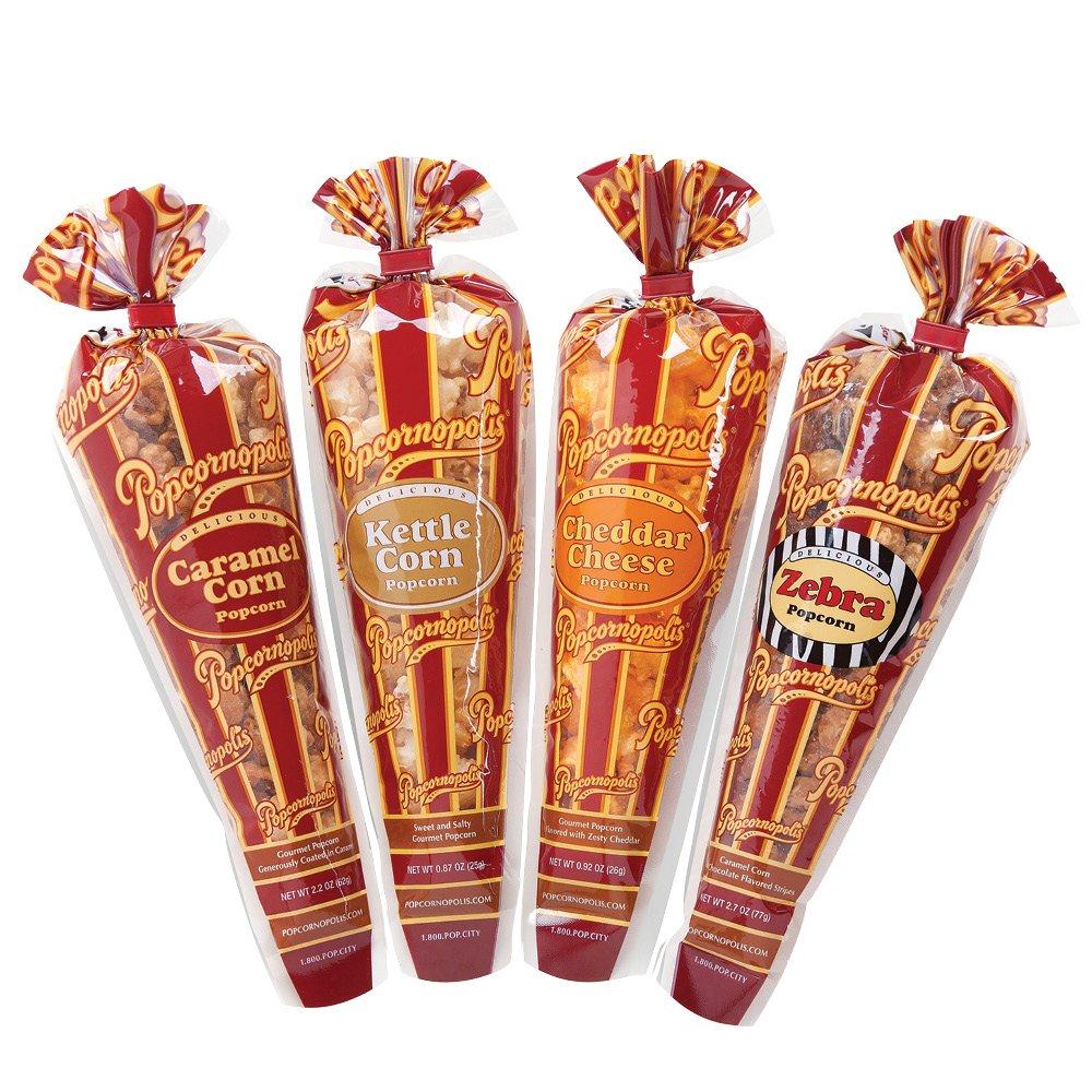 Popcornopolis Gourmet Popcorn Mini Cone Premium 24 Pack (Gift Cone)