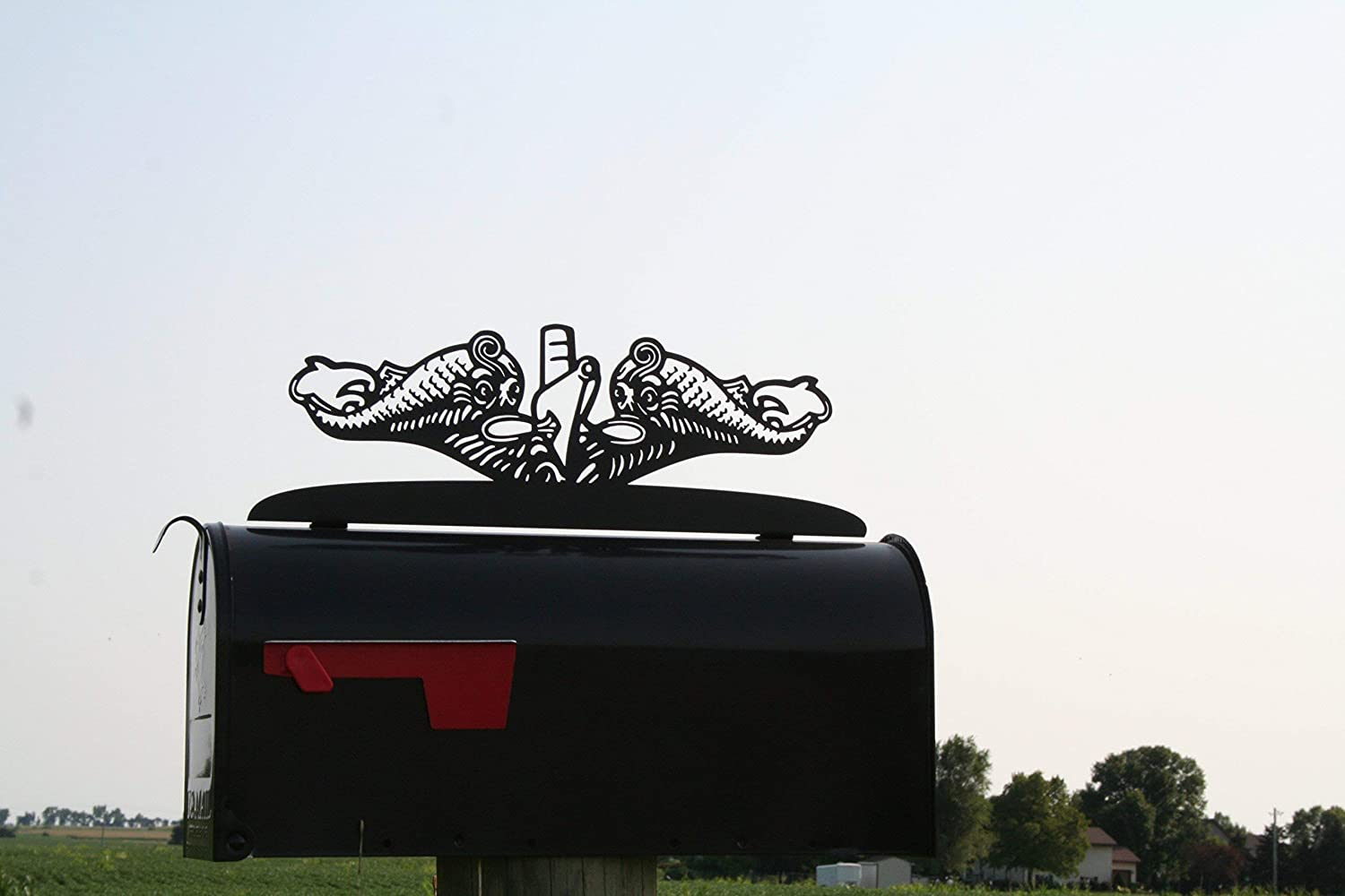 US Navy Submarine Dolphins Metal Mailbox Topper