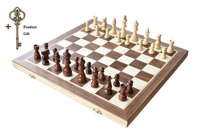 """Échecs, HOWADE 15 """"X 15"""" pouces Échecs en bois magnétique pliable Jeu de plateau avec échiquier Jeux de rangement Jeu d'échecs à la main Fabriqué à la main (15"""