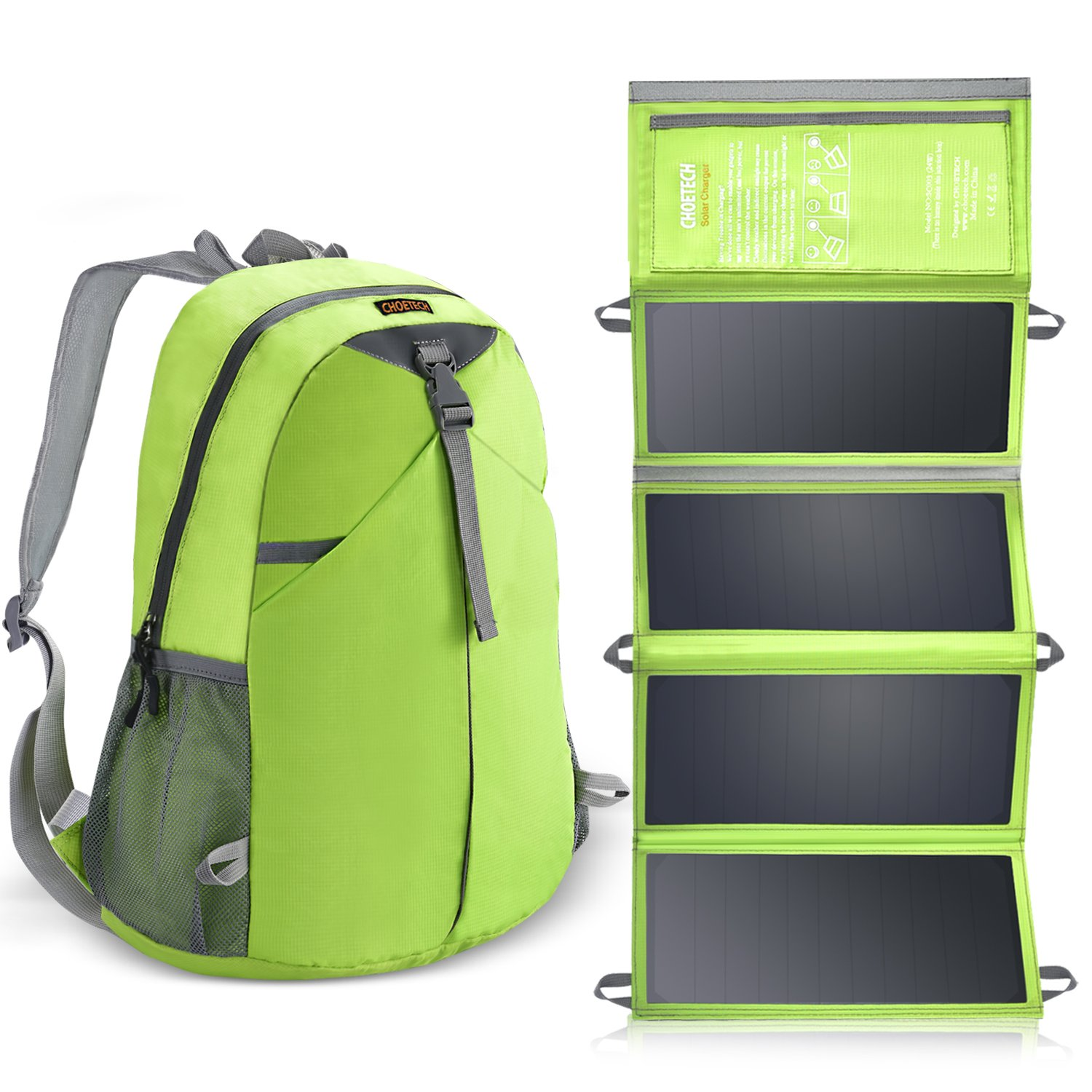 CHOETECH 24W Solar Charger Backpack Kit for iPhone, iPad, Samsung and Other USB Compatible Devices by CHOETECH