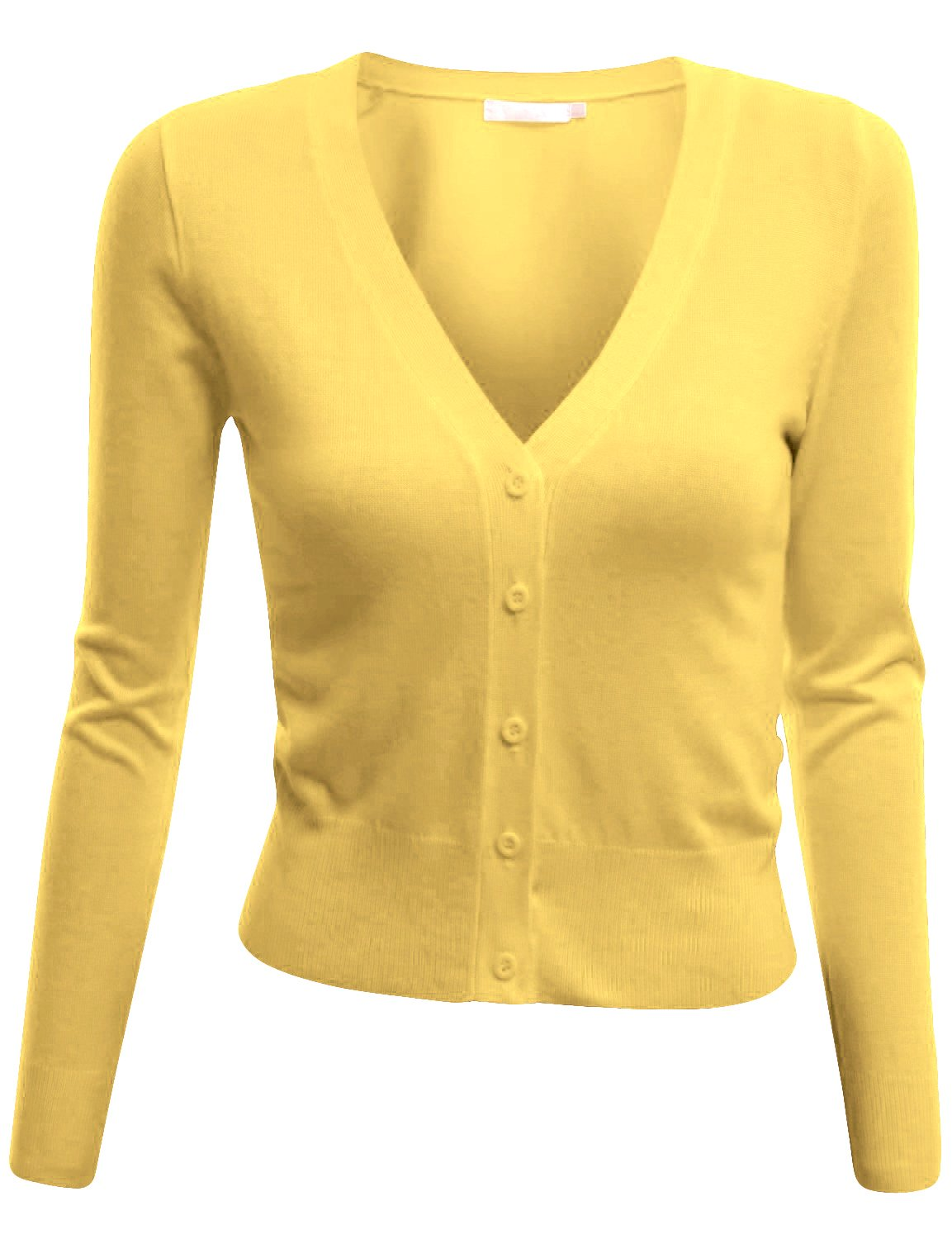Doublju V-Neck Button Down Fine Knit Crop Cardigan (Plus size available) YELLOW LARGE