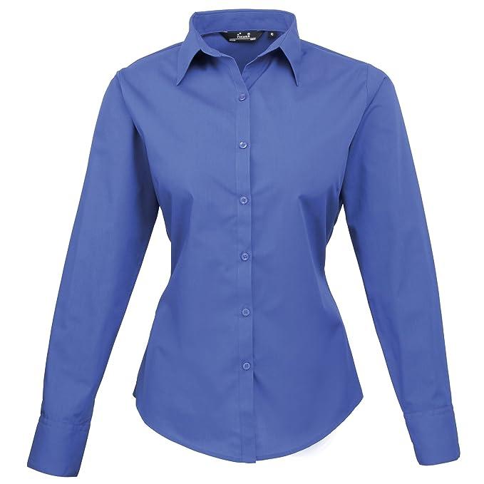 Camisa lisa Poplin de manga larga para mujer