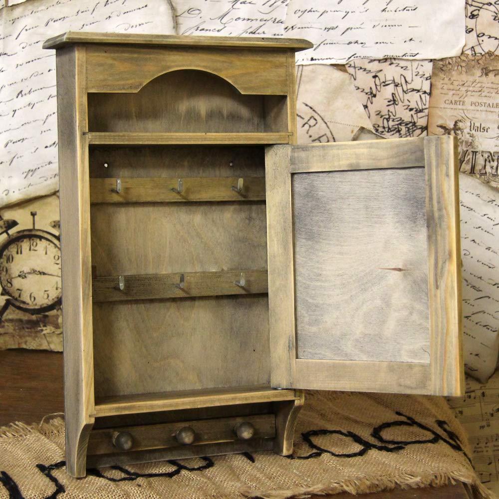 Vintage Schl/üsselkasten mit 6 Haken Landhaus Shabby Landhausstiel Holz Schl/üsselschrank Nostalgie Retro