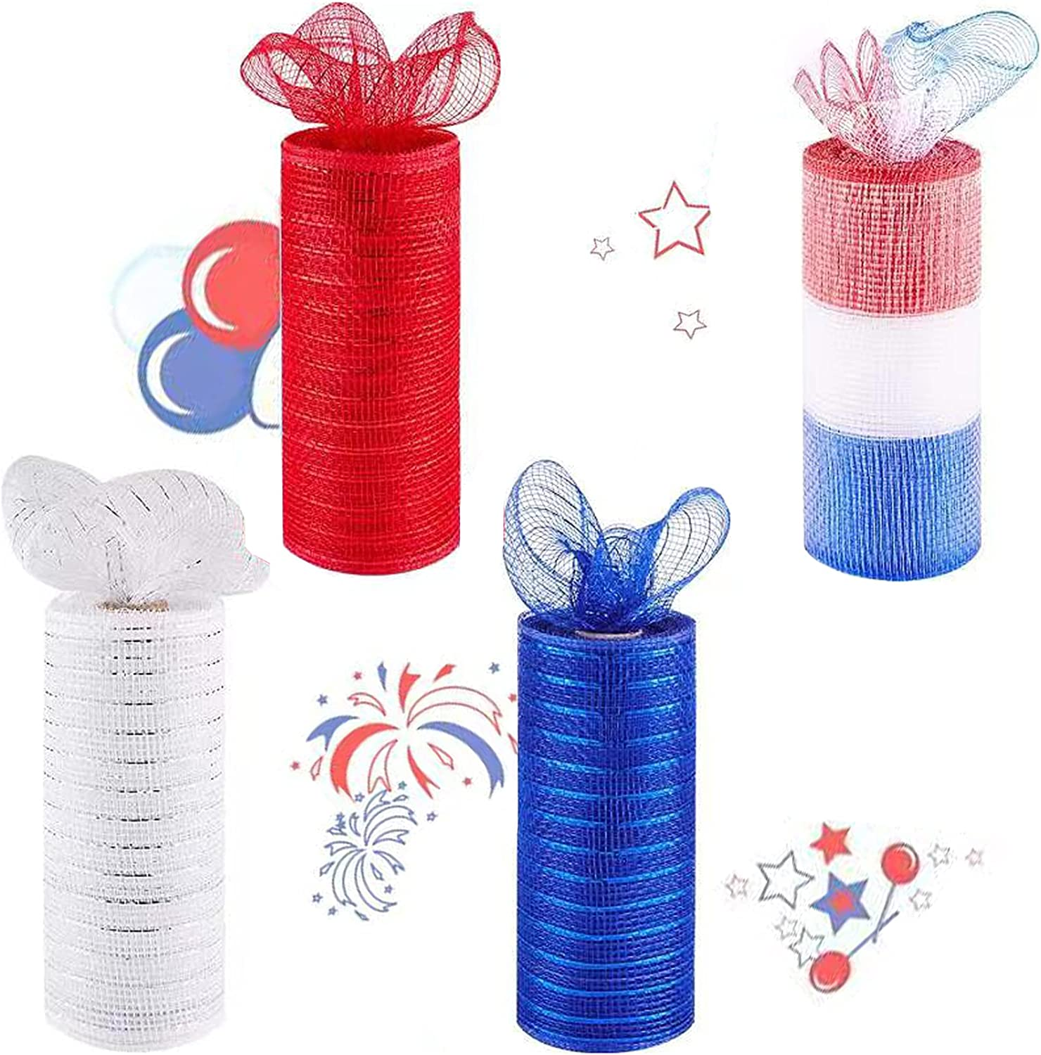 4 Pack Patriotic Decorative Mesh Ribbon 6in x 30Feet Each Roll Metallic Foil Red/White/Blue/Mixing Color Set for Wreaths, Swags and Decorating