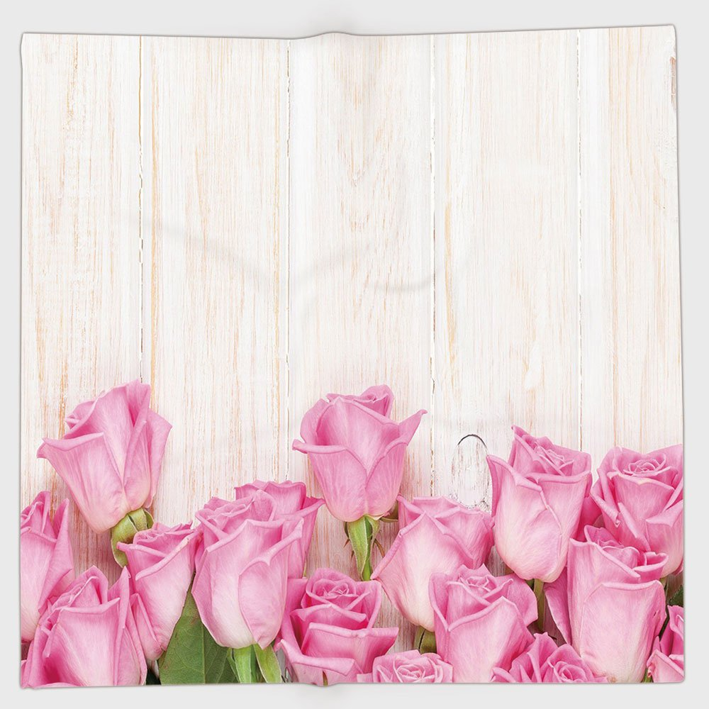 Cotton Microfiber Hand Towel,Rose,Valentines Day Celebration Inspired Composition Flowers on Wood Planks Print Decorative,Pink Green Cream,for Kids, Teens, and Adults,One Side Printing