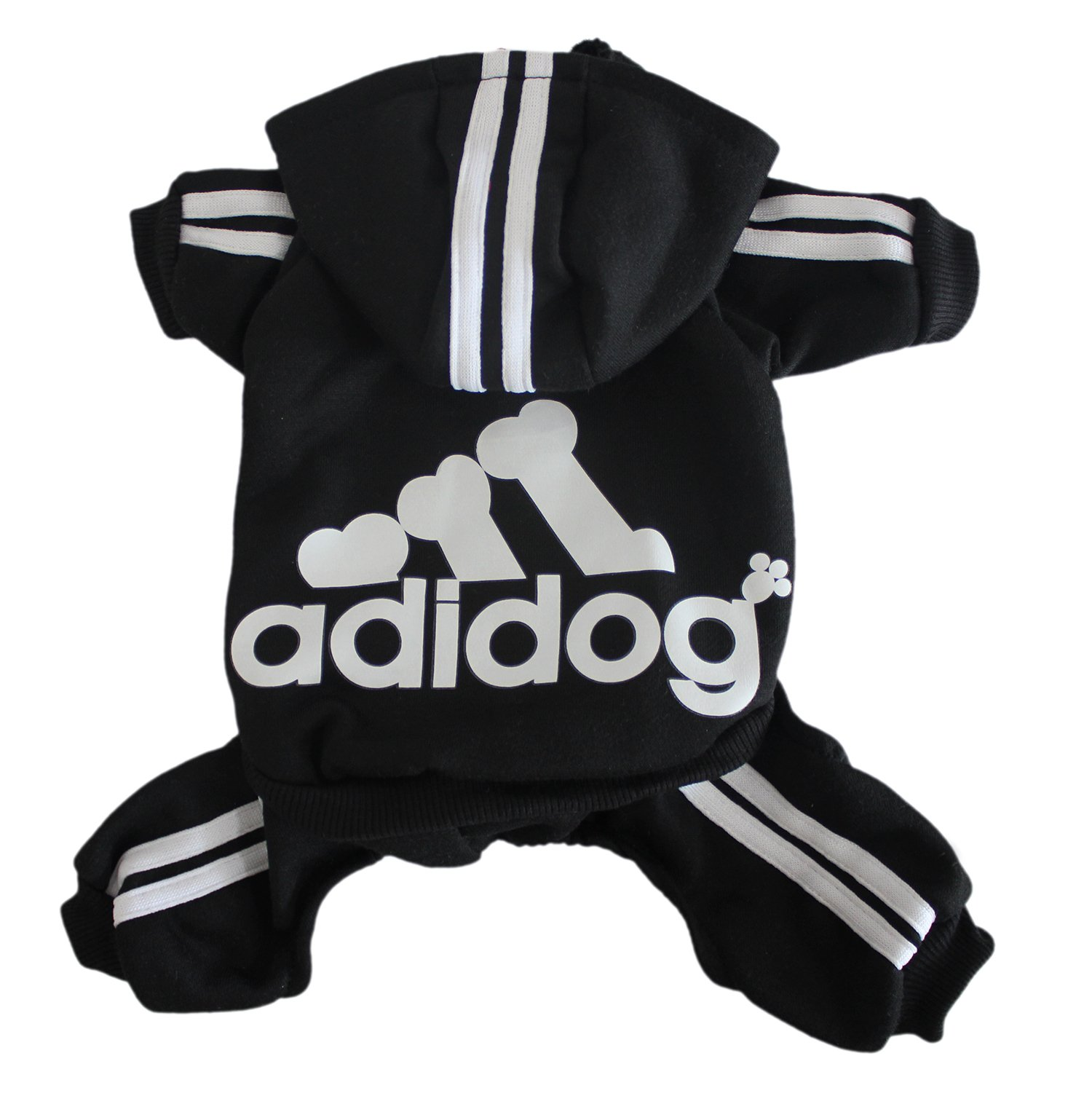 Scheppend Adidog Pet Clothes for Dog Cat Puppy Hoodies Coat Winter Sweatshirt Warm Sweater Dog Outfits, Black XX-Large