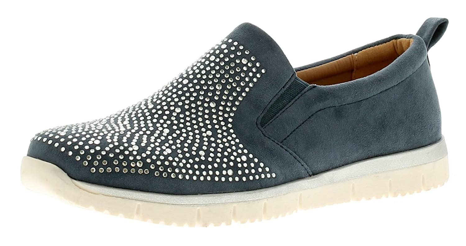 Strollers Spangle Womens Ladies Flats Shoes Blue UK Size